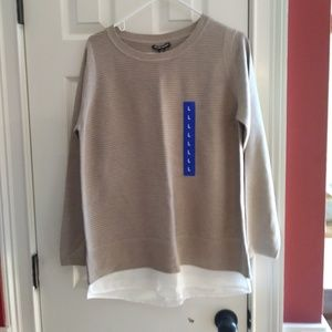 Hilary Radley Two-Fer Long Sleeve Sweater Sand New